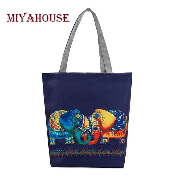 Miyahouse Character Elephants Printed Shoulder Bag Women Large Capacity Canvas Shopping Bag Casual Ladies Handbag Tote Bags - KrishQ