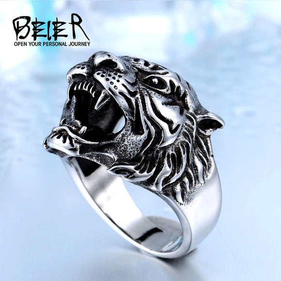 BEIER 316L Stainless Steel Titanium Tiger Head Ring - KrishQ