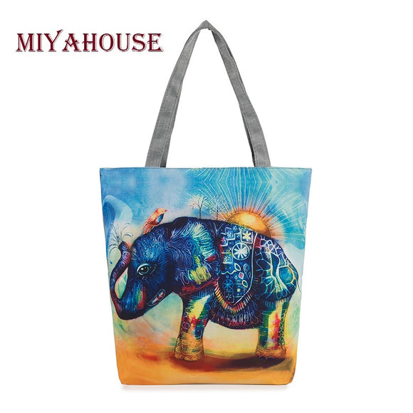 Elephant Printed Canvas Tote Women Casual Beach Bags Daily Use Female Single Shoulder Bags For Shopping Casual Canvas Handbags - KrishQ