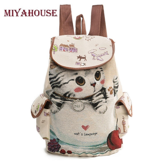 Miyahouse Cute Cat Backpack Women Canvas Backpack Drawstring Printing Backpacks For Teenage Girls Large Capacity School Bag - KrishQ
