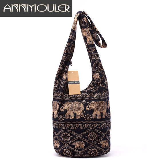 Vintage Women Mochila Cotton Shoulder Bag - Elephant Print - KrishQ