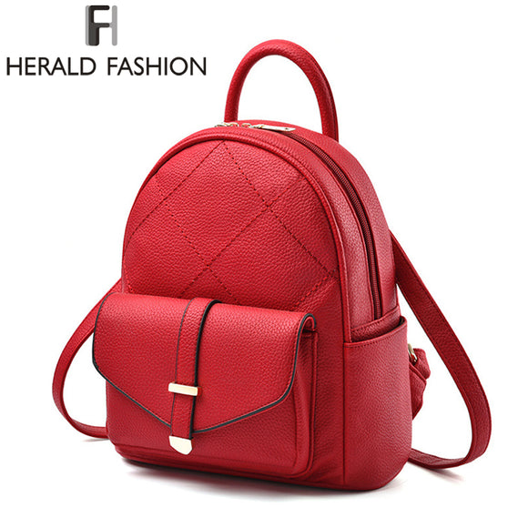 Herald Fashion Backpacks for Teenage Girls Solid Prerry Style Backpack Satchel Travel Laptop Backpack College Bag Shoulder Bag - KrishQ