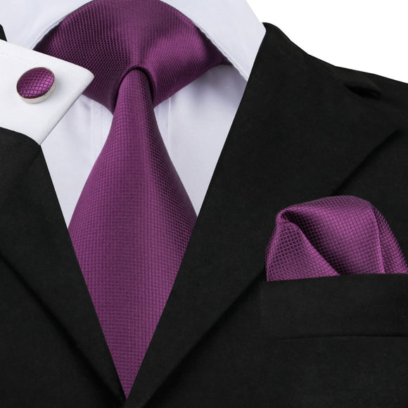 Deep Purple Solid Tie Hanky Cufflink Silk Jacquard Necktie Ties For Men - KrishQ