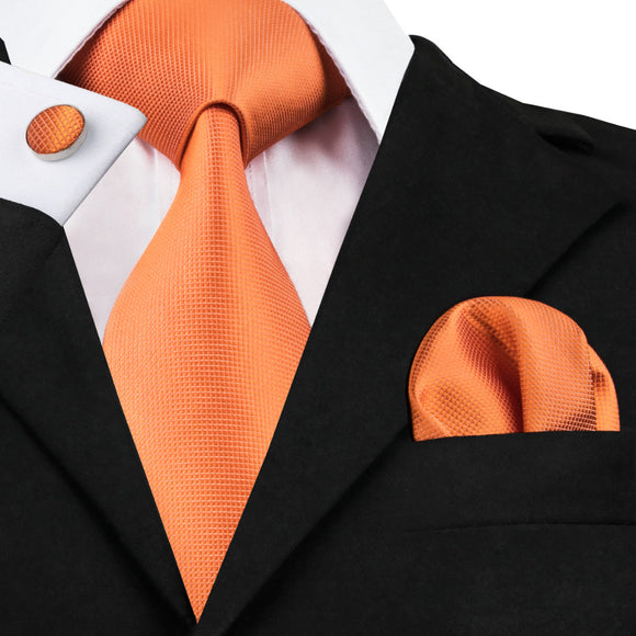 Orange Solid Tie Hanky Cufflinks Silk Jacquard Neckties Ties For Men - KrishQ