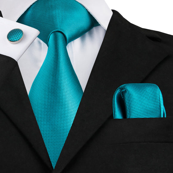 Blue Solid Tie Hanky Cufflinks Silk Jacquard Neckties Tie For Men - KrishQ