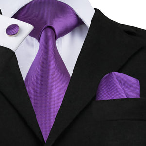 Classical Purple Solid Tie Hanky Cufflinks 100% Silk Jacquard Necktie Ties For Men - KrishQ