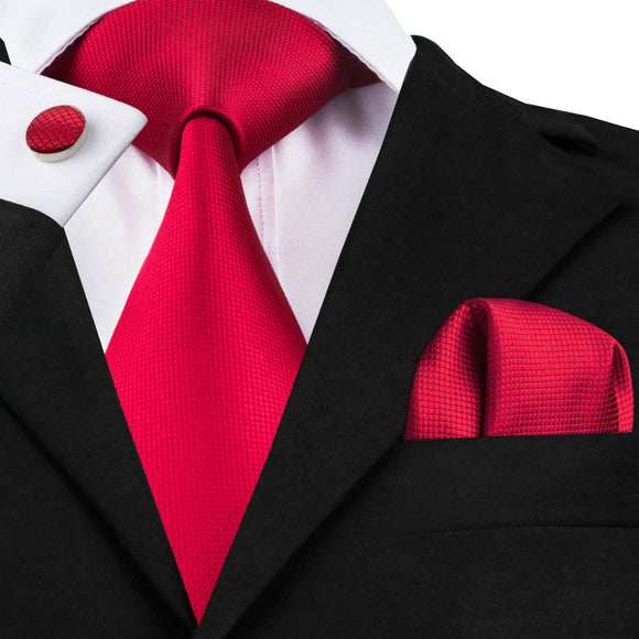 Red Solid Neckties Hanky Cufflinks 100%Silk Tie For Men - KrishQ
