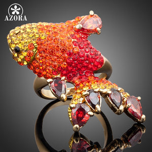 AZORA Gold Color Multicolour Stellux Austrian Crystal Red Carp Ring - KrishQ