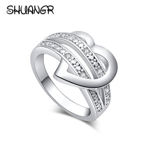SHUANGR 1 X Newest Fashion Women Jewellery Silver-Colour Bling Heart - KrishQ