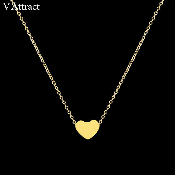 Stainless Steel Chain Necklace Gold Colour Dainty Tiny Heart Shaped Necklaces Pendants - KrishQ