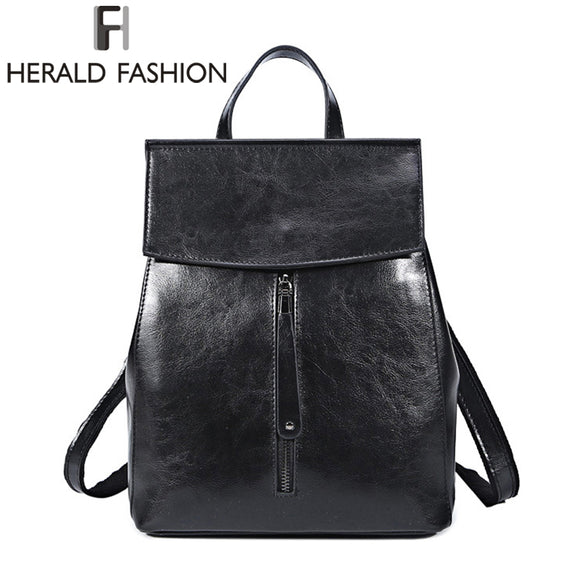 HERALD FASHION Genuine Leather Backpack Vintage Cow Split Leather Women Backpack Ladies Shoulder Bag School Bag for Teenage Girl - KrishQ