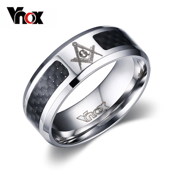 Vnox Masonic Men Ring Stainless Steel & Carbon Fiber 8mm - KrishQ