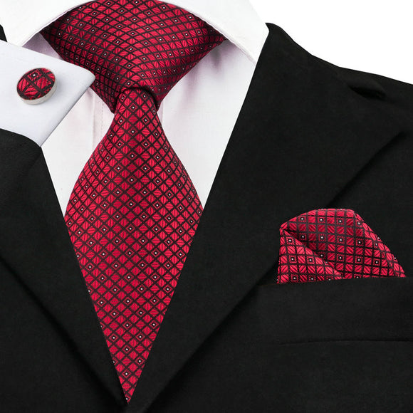 Red Plaids Checks Ties for Men Neckties Handkerchief Cufflinks Set - KrishQ