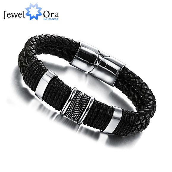Wide Mens Weave Chain Wristband Leather Bracelet For Men Classic Bracelet Bangle Jewelry Gift For Man (JewelOra BA101163) - KrishQ