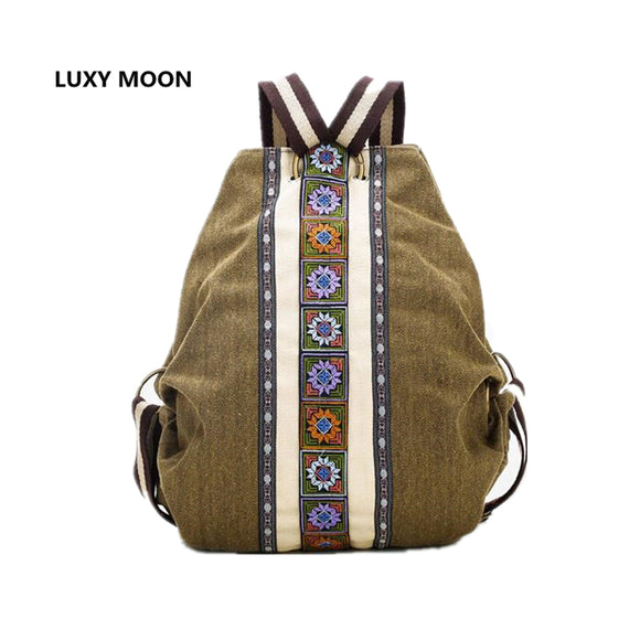 Luxy Moon sac Canvas Backpacks for Women Embroidery Patchwork Vintage Drawstring Bag Travel Boho anti theft Mochila - KrishQ
