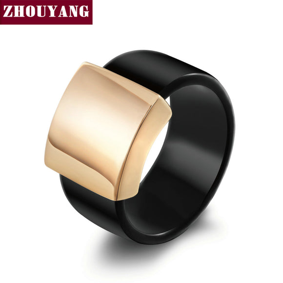 Top Quality Fashion Acrylic Smooth Metal Rose Gold Color Ring - KrishQ