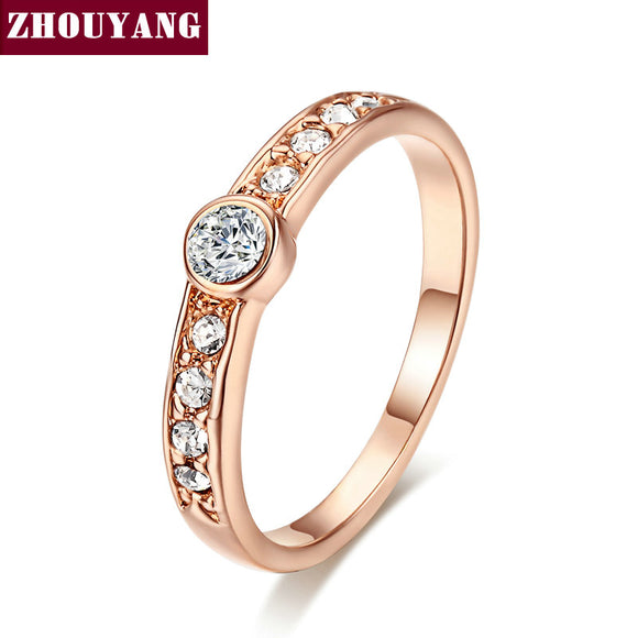 Crystal Ring Rose Gold Color Austrian Crystals Full Sizes - KrishQ