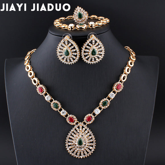 jiayijiaduo Indian wedding jewelry Retro palace necklace 4ps/set jewellery sets for women bridal dress accessories gold color - KrishQ