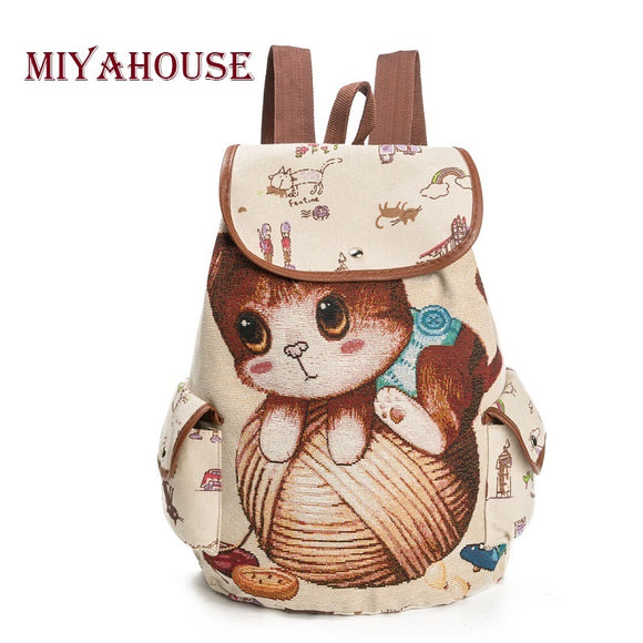 Miyahouse Cute Cartoon Cat Print School Backpack For Teenager Large Capacity Canvas School Bag Girls Drawstring Backpack Female - KrishQ