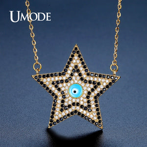 UMODE Vintage Charm Star Black Crystal Pendant Necklaces for Women - KrishQ