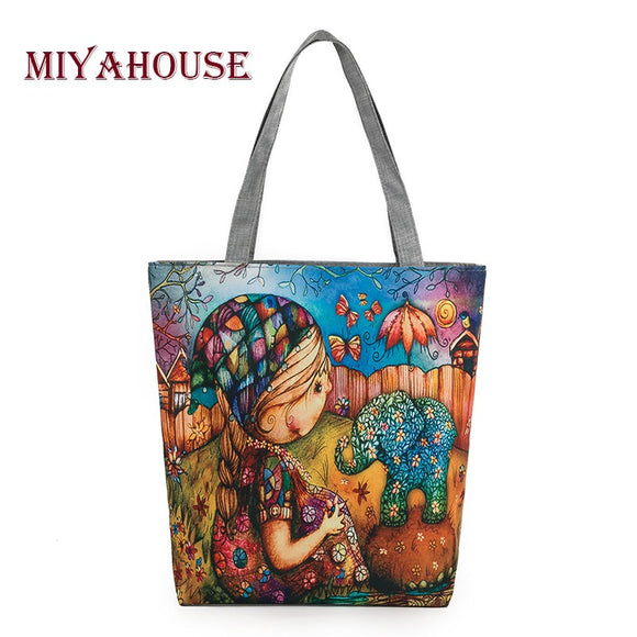Miyahouse Character Design Canvas Bag Women Girl And Elephant Printed Shoulder bag Female Daily Use Ladies Tote Bags - KrishQ