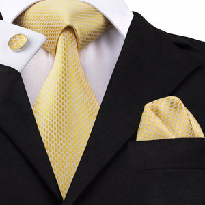 Royal Yellow Geometric Ties for Men Silk Fabric Necktie Hanky Cufflinks Set Jacquard Woven - KrishQ
