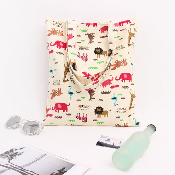 YILE Cotton Canvas Shopping Tote Shoulder Carrying Bag Eco Reusable Bag Print Pink Elephant Deer Animal without Lining NEW - KrishQ