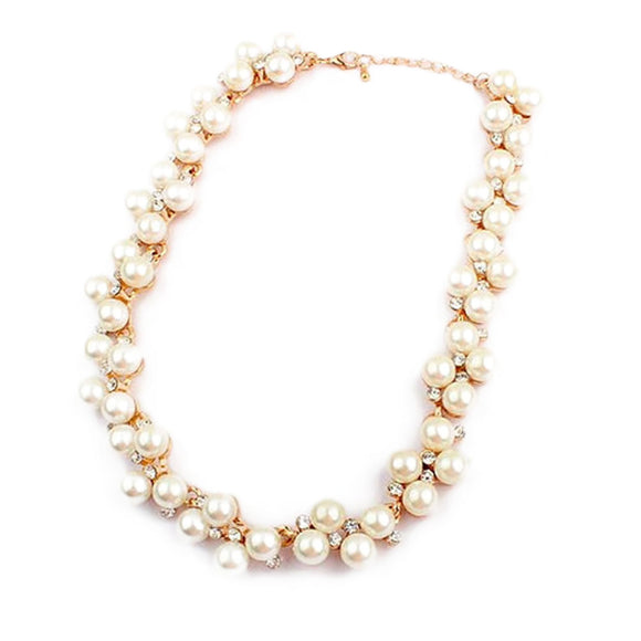 New Imitation Pearl Necklace Gift With Imitation Zircon Short Choker - KrishQ