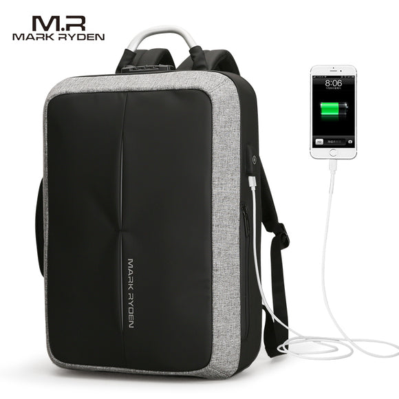 2018 Mark Ryden New Anti-thief USB Recharging Men Backpack NO Key TSA Lock Design Men Business Fashion Message Backpack Travel - KrishQ