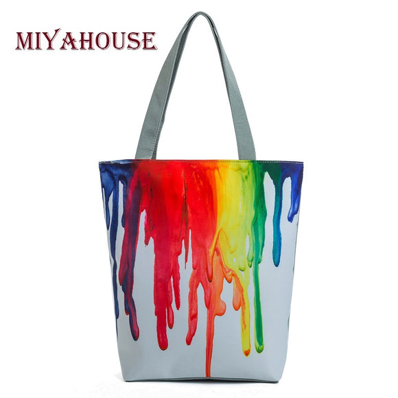 Miyahouse Harajuku Style Colorful Painting Shoulder Bag Women Large Capacity Shopping Bag Female Casual Tote Handbag - KrishQ