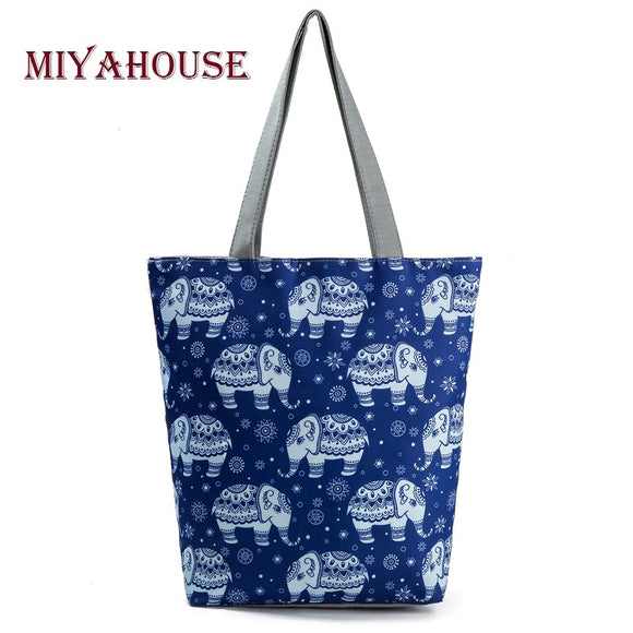 Miyahouse National Style Elephant Printed Shoulder Bag Women Summer Canvas Tote Beach Bag Large Capacity Shopping Bag Lady - KrishQ