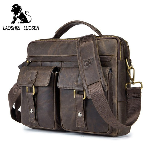 LAOSHIZI LUOSEN Genuine Leather Vintage Men Bag Handbag Business Casual  Men's Travel Laptop Bag Shoulder Bags Tote Briefcase - KrishQ