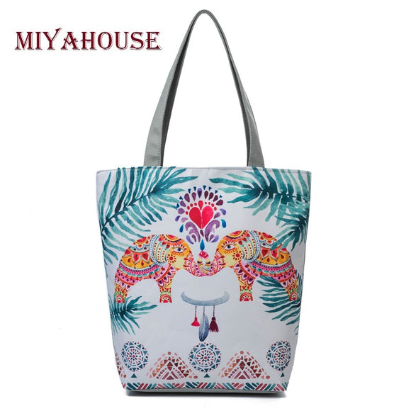 Unique Design Elephant Print Beach Bags For Women - KrishQ