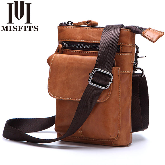 2018 NEW Genuine Leather Men Bags Vintage Belt Waist Packs Men Shoulder Crossbody Bag Male Messenger Bags Phone Small Waist Bag - KrishQ