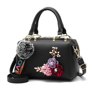 JOOZ New spring Women bags Floral women's Leather handbag Fashion Elegant Shoulder bag Barrel-shaped Tote bag - KrishQ