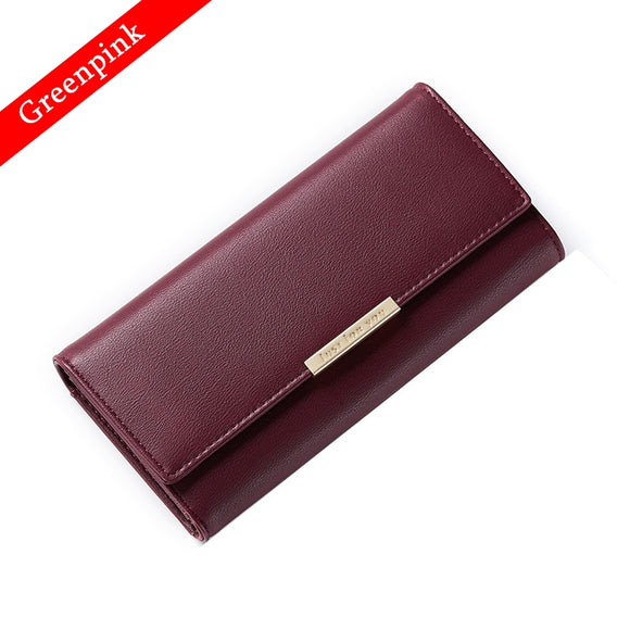Greenpink Wallet Women Standard Hasp Female Coin Purse Fashion Card Holder Quality Split Leather Clip Wallet Clutch Money Bag - KrishQ