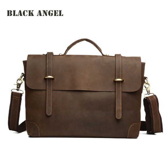 Vintage real genuine leather bag men shoulder bag tote leisure crazy horse leather laptop briefcase bags for man - KrishQ