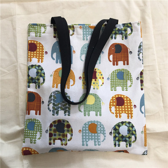 YILE Cotton Canvas Eco Shopping Market Tote Shoulder Bag Book Bag Print Elephant 8414f - KrishQ
