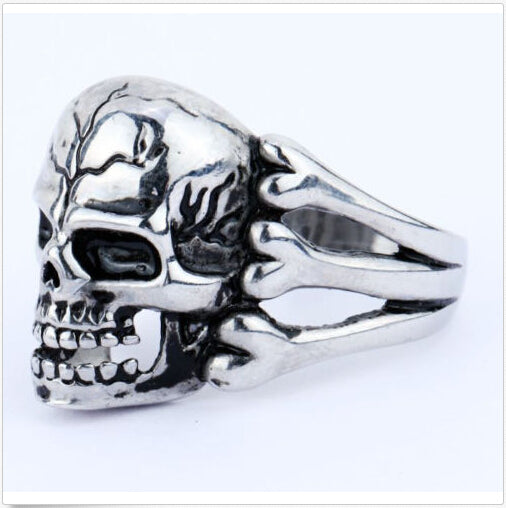 Man's Ring Gothic Men's Skull Flower Biker Zinc alloy Ring Man fashion rings - KrishQ