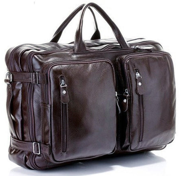 Fashion Multi-Function Full Grain Genuine Leather Travel Bag Men's Leather Luggage Travel Bag Duffle Bag Large Tote Weekend Bag - KrishQ