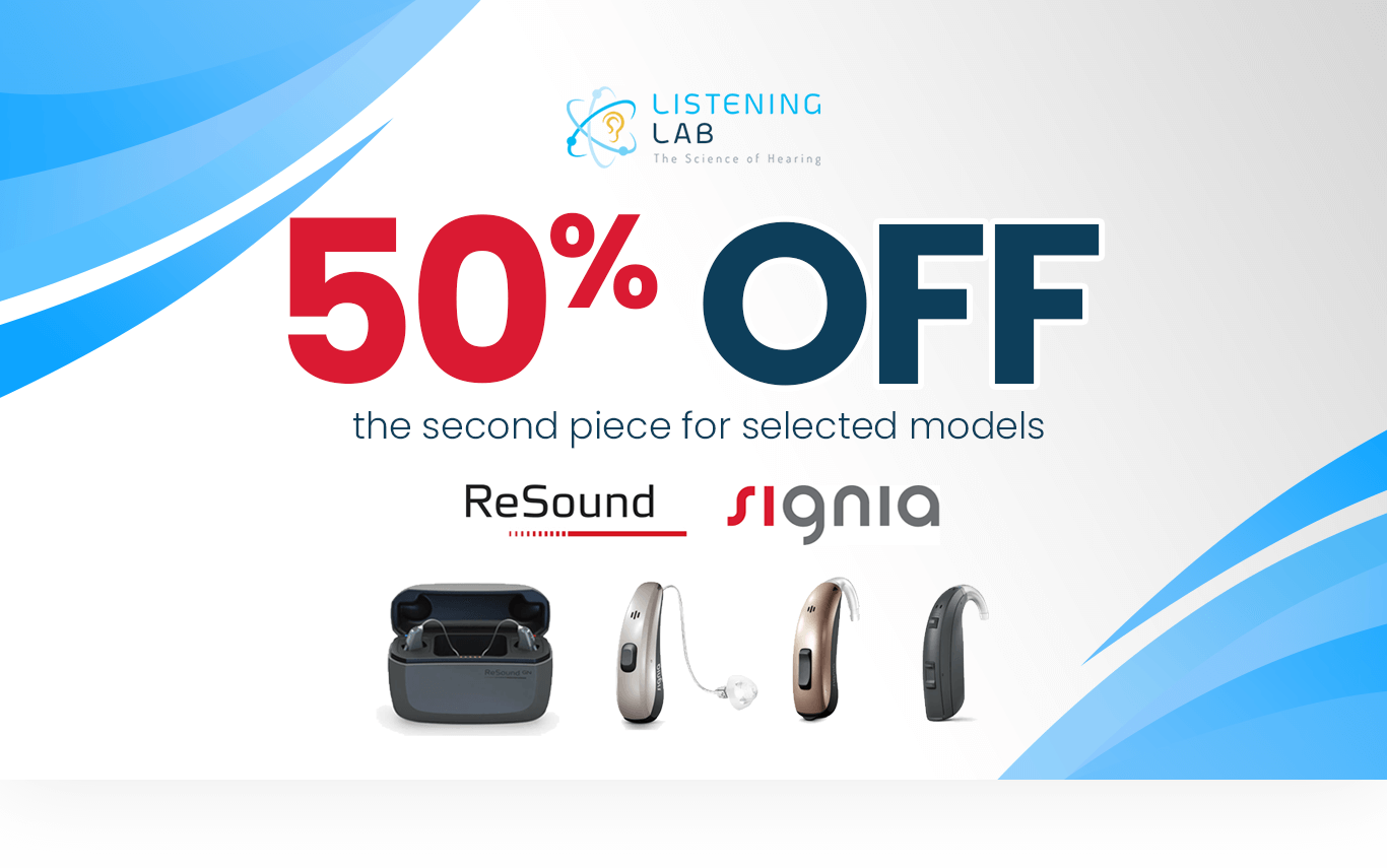 50% off the second piece for selected models Resound and Signia