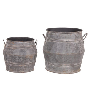 SET OF AGED EFFECT METAL BUCKET PLANTERS