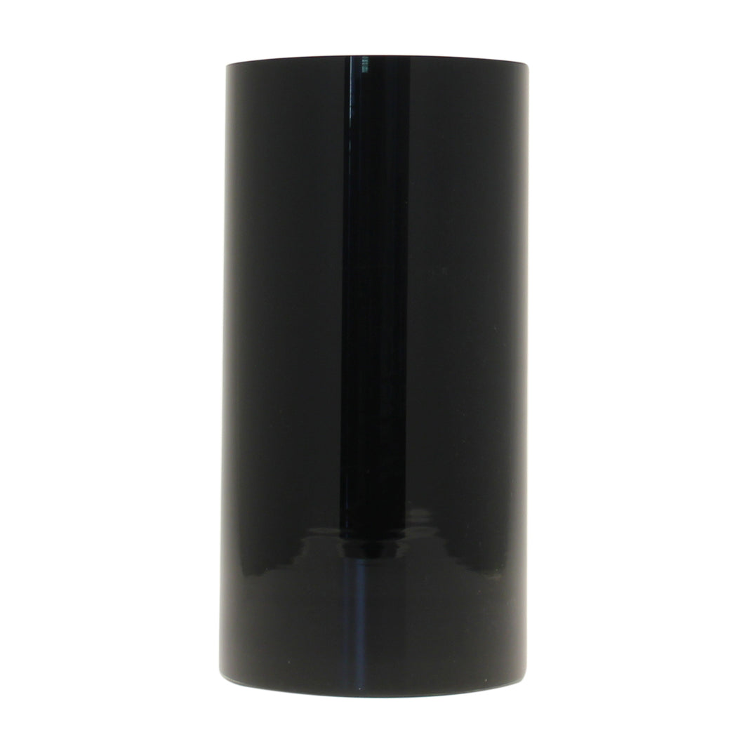 BLACK GLASS CYLINDER VASE