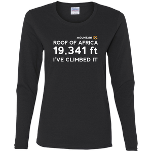 Kilimanjaro Height in Feet Women's Long Sleeve Top (Cotton/Wicking)