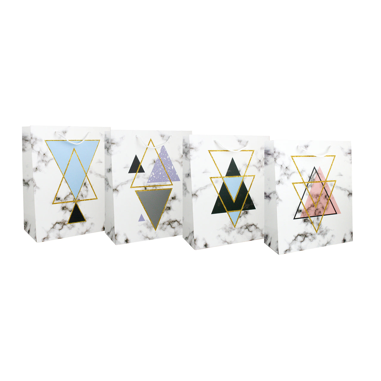 Marble Print Triangles Gift Bag - Set of 4