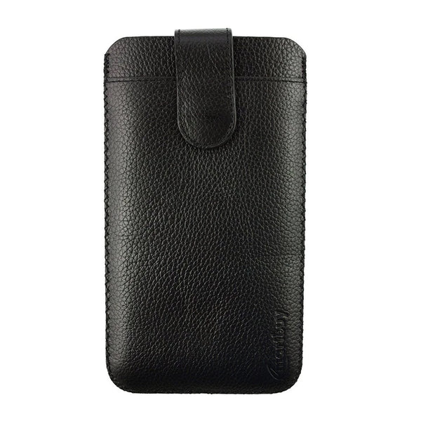 Genuine Leather Universal Phone Pouch - Black