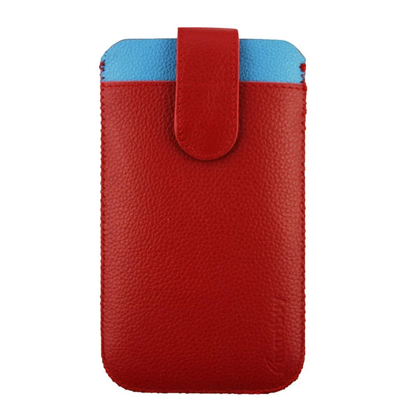 Genuine Leather Universal Phone Pouch - Red Blue
