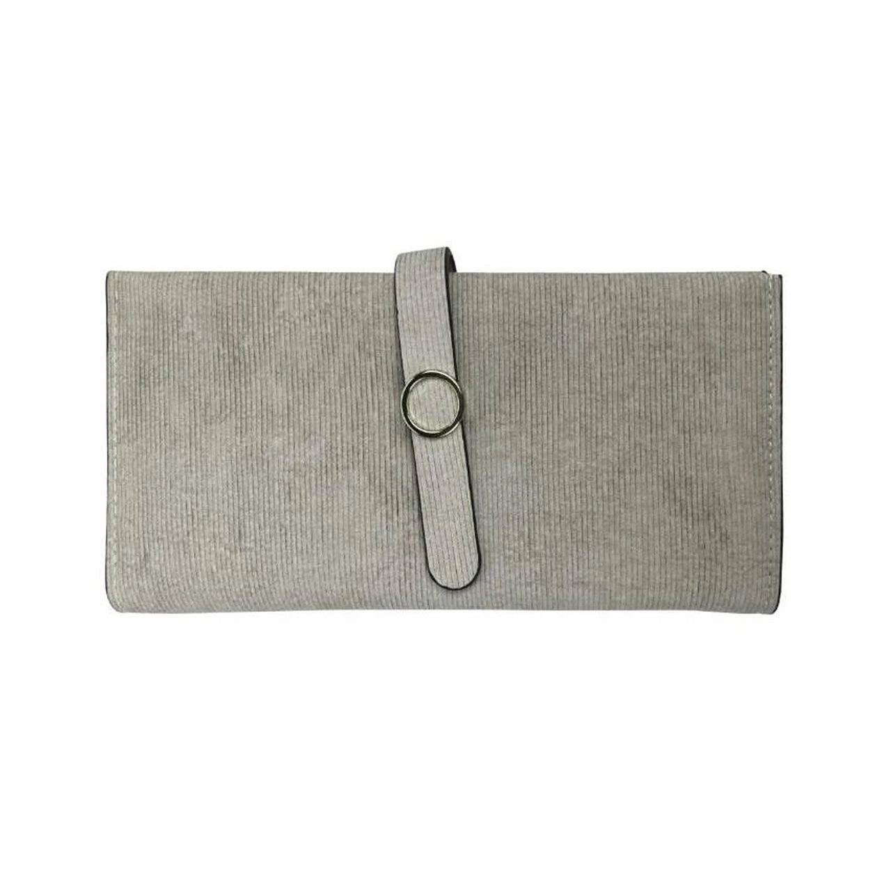 Faux Suede Gold Ring Wallet - Grey