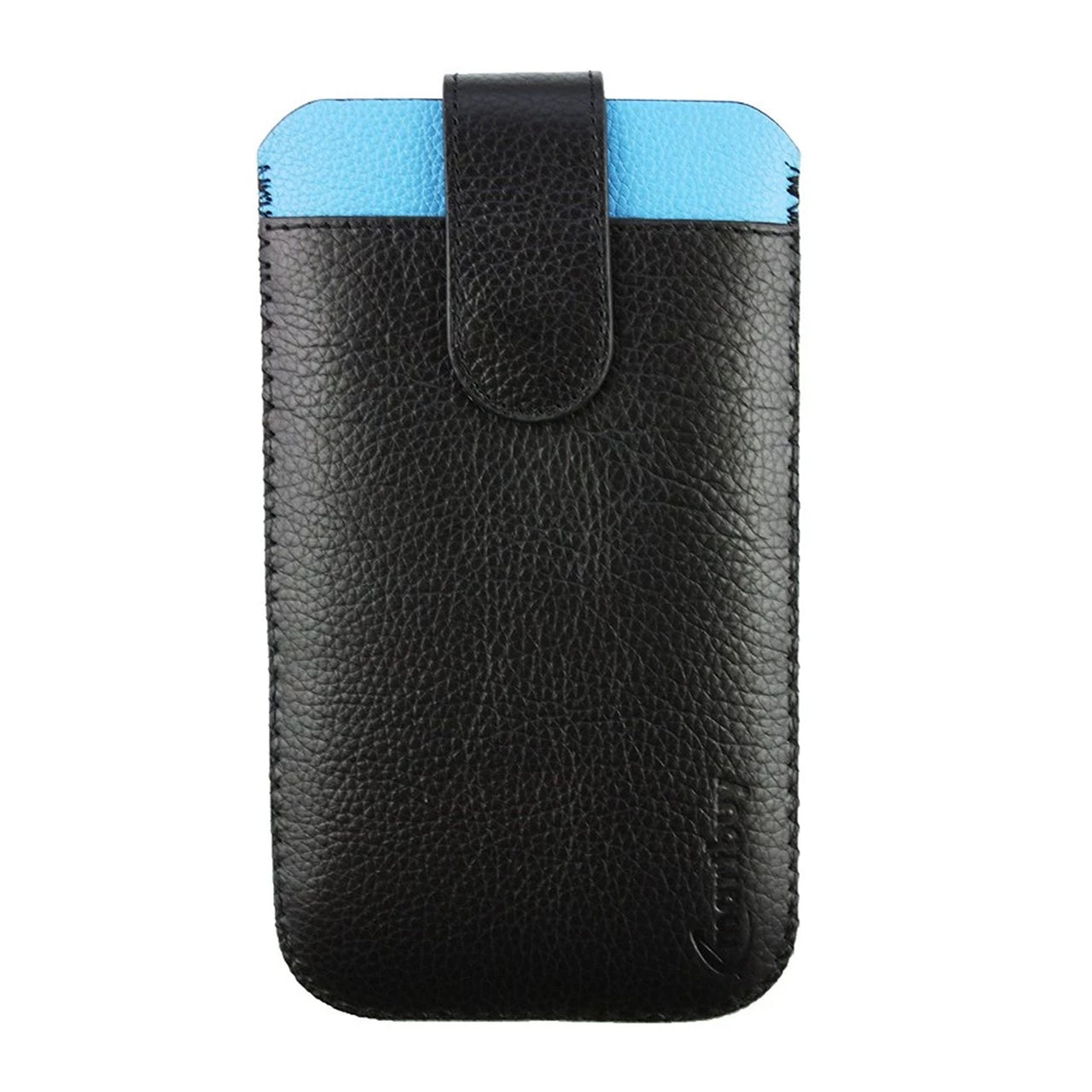Genuine Leather Universal Phone Pouch - Black Blue