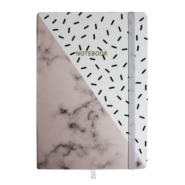 A5 Pink White Marble Print Notebook - EMARTBUY